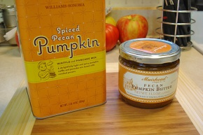 Here's the pancake mix and the pumpkin butter I used as a filling.