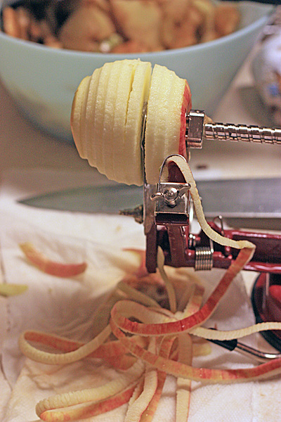 This cool apple peeler/corer/slicer gadget made easy work of prepping the apples.
