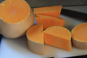 Raw butternut, ready to peel