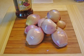 Start with the humble shallot, peeled, but with root end intact