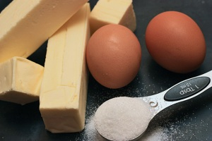 eggs, butter and sugar (two kinds)