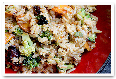 Vegetable fried rice with bacon