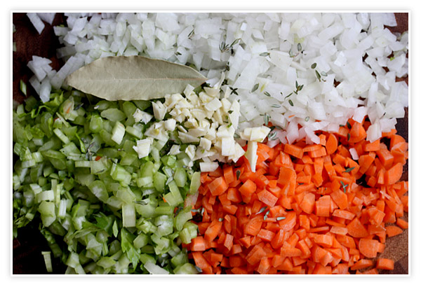 Chopped onions, celery, and carrots