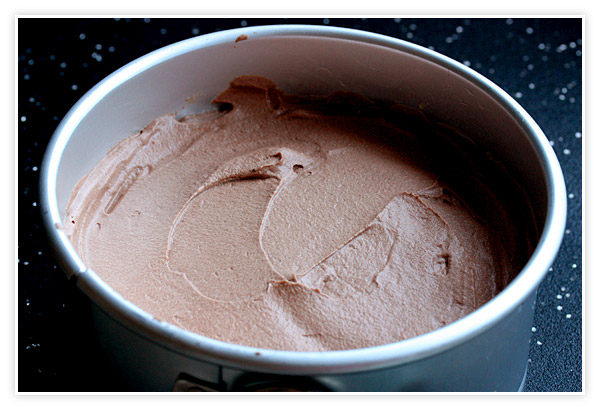 Nutella Mousse Cake in the pan