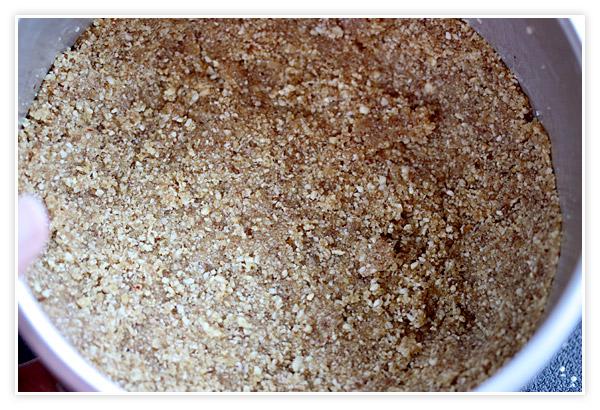 Crust pressed into the springform pan
