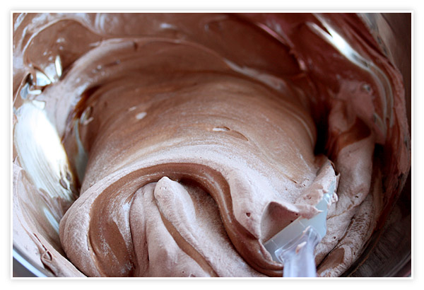 Folding the chocolate whipped cream